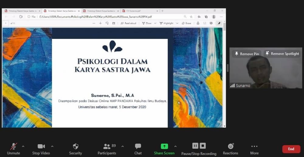 HMP Pandawa Sastra Daerah FIB UNS, Gelar Diskusi Online dengan Membahas Psikologi dalam Karya Sastra Jawa