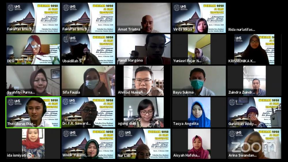 Prodi S-2 Ilmu Linguistik Pascasarjana UNS,  Gelar Webinar Bertemakan Keberagaman Bahasa, Budaya, dan Penerjemahan