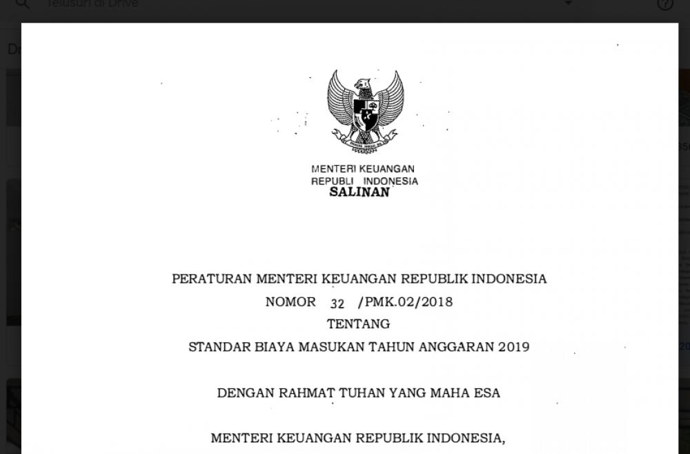 STANDAR BIAYA MASUKAN TAHUN ANGGARAN 2019